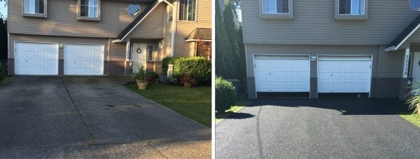 Garage driveway before and after safety surfacing