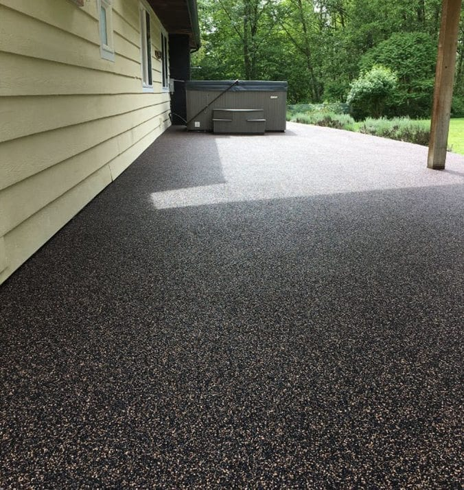 After rubber surfacing on patio done by Vancouver Safety Surfacing