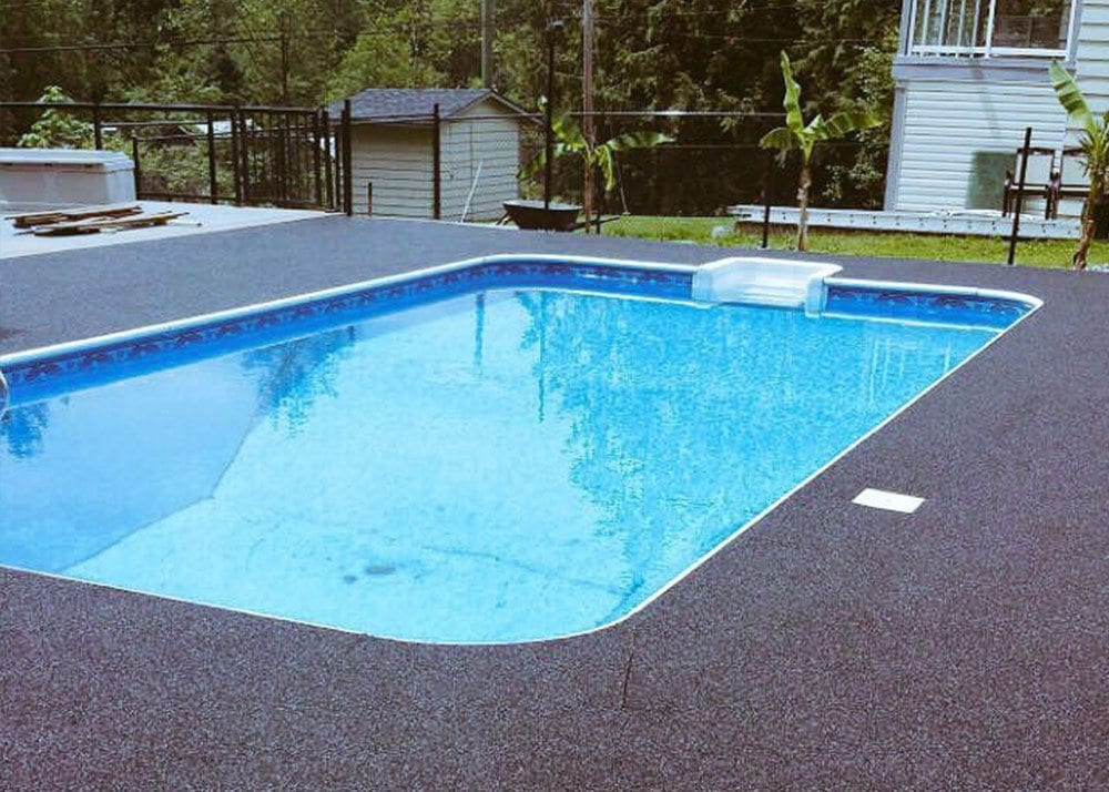 After rubber surfacing on swimming pool done by Vancouver Safety Surfacing