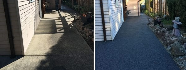The before and after pictures of the side walkway of home rubber surfacing done by Vancouver Safety Surfacing