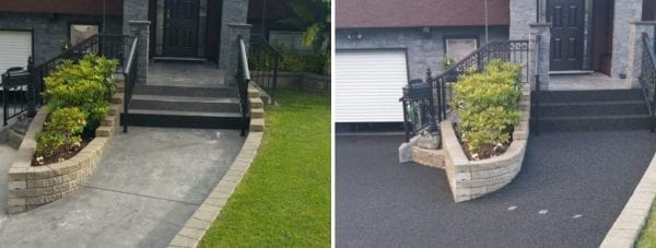 The before and after of a home's front entrance with rubber surfacing covering walkway and stairs.