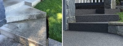 Before and after results of a stairwell that has received rubber surfacing from Vancouver Safety Surfacing.