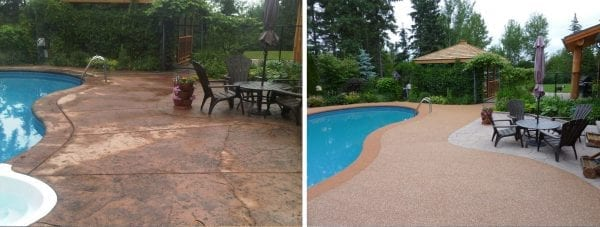 Before and after rubber surfacing on pool deck