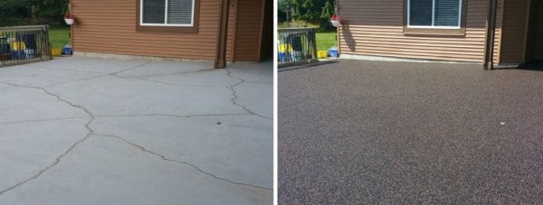Before and after rubber surfacing of large deck done by Vancouver Safety Surfacing