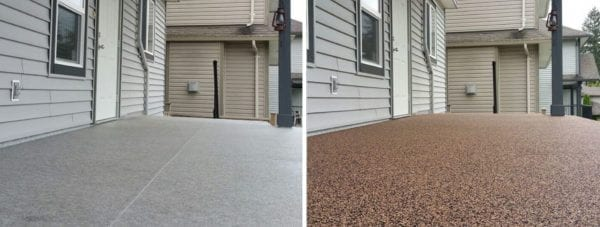 Before and after rubber surfacing on patio done by Vancouver Safety Surfacing