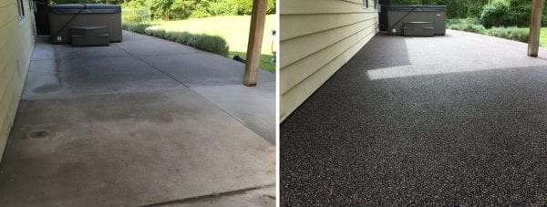 The before and after image of a home patio's rubber surfacing done by Vancouver Safety Surfacing