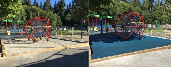Vancouver Safety Surfacing placing rubber surfacing on playground equipment.