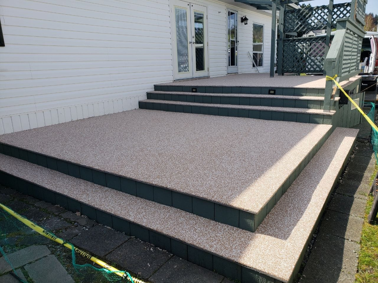 Deck after rubber surfacing