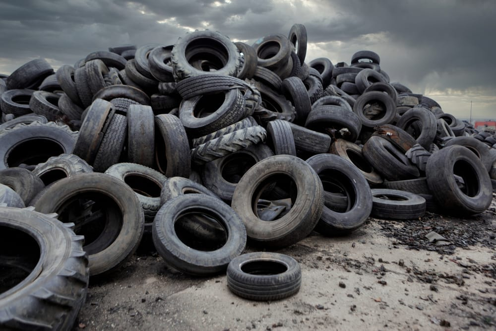 Landfill with tires